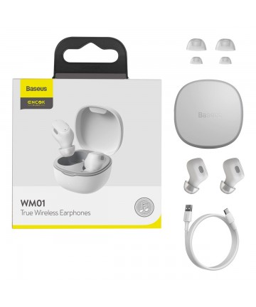 Baseus Encok WM01 True Wireless Earphones TWS Bluetooth 5.0 white (NGWM01-02)